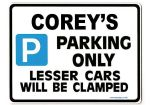COREY'S Personalised Gift |Unique Present for Him | Parking Sign - Size Large - Metal faced